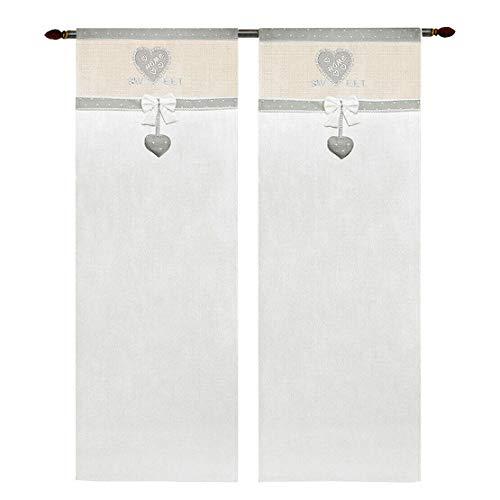 emmevi Par de cortinas para ventana de puerta, interior de tela, estilo Shabby Chic, con corazones, 60 x 240 cm, color gris
