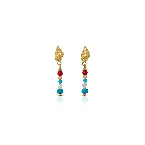 Nanna Folk - Pendientes mujer plata de ley conchas, turquesas, perlas y corales,chapado oro 18 k. Regalos originales