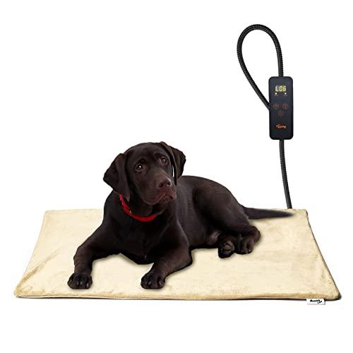 Toozey Manta Eléctrica para Perros y Gatos Interior, Ajustable Temporizador y Temperatrue Almohadilla Calefactora para Mascotas Gatos y Perros Recién Nacidos/Pequeños/Ancianos, Beige, L (70*40cm)