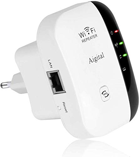 Aigital 300Mbps WiFi Ripetitore Amplificatori di Segnale Range Extender Universale, Wireless Repeater Booster Single Band Compatibile con Modem Fibra e ADSL, Access Point, Porta LAN
