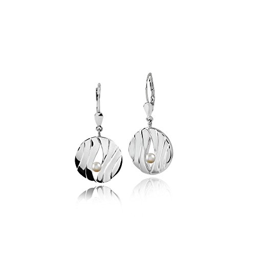 MATERIA 925 Silber Ohrhänger Perle 18x35mm - Damen Perlenohrringe Brisur Verschluss rhodiniert inkl. Box #SO-167