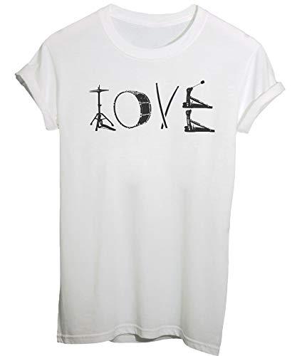 Spike Tee T-Shirt Love Drums Idea Regalo per Batterista – Musica - Uomo-M-Bianca