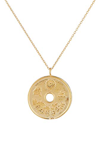 Córdoba Jewels | Gargantilla en Plata de Ley 925 bañada en Oro con diseño Moneda Japonesa Gold