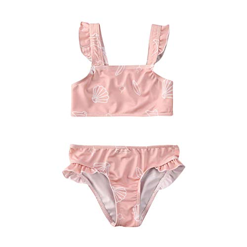 xkwyshop Toddler Infant Baby Girl Swimsuit Bikini Toddler Girls Swimwear Bathing Suit 2 Piece Beachwear 6M-5T (Pink, 1-2T)