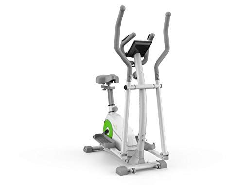 Limepeaks Fitness - LMP-1001 (White) Compact 2-In-1 Dual Action Indoor Elliptical Cross Trainer and Cycling Machine with 8 Resistance Levels Adjustable Seat Digital Monitor and Tablet Holder