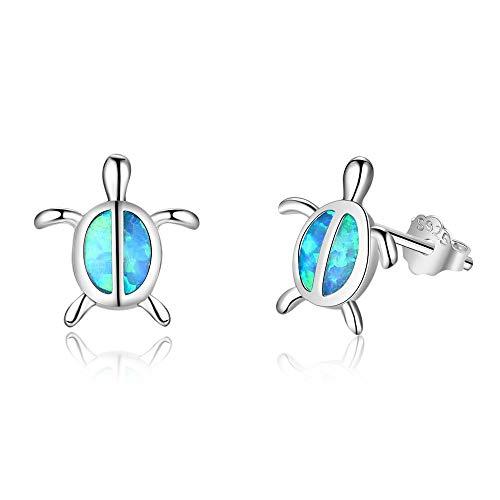 YAZILIND S925 Sterling Silver Opal Turtle Tortoise Stud Earrings Women Girls Valentines Jewellery Gift