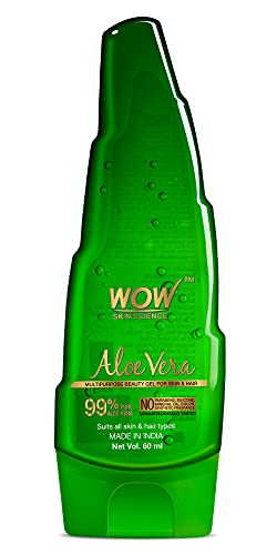 WOW 99% Pure Aloe Vera Gel, Ultimate for Skin and Hair, No Parabens, Silicones, Mineral Oil, Color, Synthetic Fragrance, 60 ml