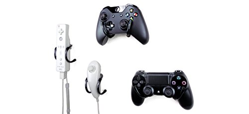 Wall Clip - Xbox One, PS4, Nintendo Switch, and Retro Game Controller Organizer - 4 Pack, Black
