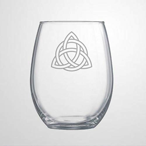 Celtic Trinity Knot Funny Stemless Wine Glass Laser Engraved custom Whiskey Glass custom Shot Glass,15 oz