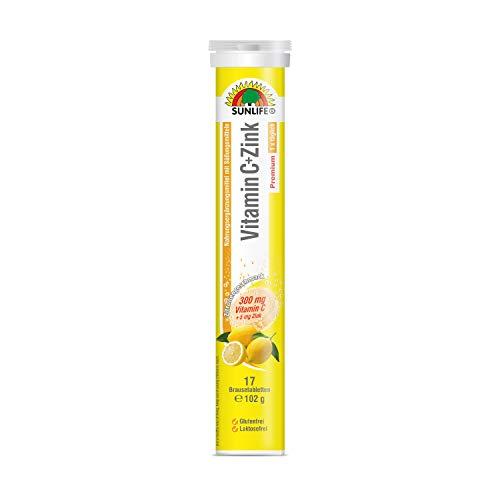 SUNLIFE Vitamin C+Zink Brausetabletten hochdosiert: Immunsystem unterstützen, Zitronengeschmack, 17 Tabletten