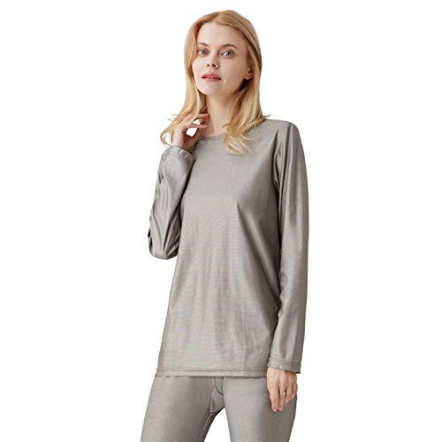 CEXTT Conjunto de Ropa Interior Larga de Mujer Anti-radiación, comunicación 5G, Sala de monitoreo EMF Shield 100% de Plata de Fibra de Plata (Color : Long sleeveunderwear, Size : Large)