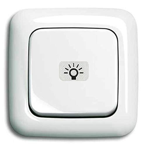 Busch Jäger Komplettset/Lichtschalter mit 1 x Taster/Tastschalter permanent beleuchtet (2020 USGL) mit Wippe (Kalotte Symbol Licht) inkl. 1 fach Rahmen - komplett einbaufertig alpinweiß Reflex SI