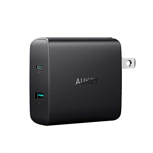 AUKEY USB C Charger 56.5W 2-Port Fast Charger with Power Delivery 3.0, USB C Wall Charger with Foldable Plug, PD Charger for MacBook Air, iPad Pro, iPhone SE, Google Pixel 4 XL, DELL, LG, HP, Sony