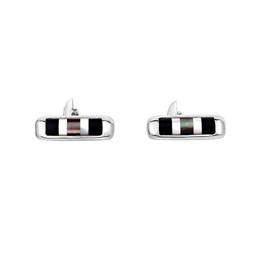 Photo of Silver Rhodium Finish 20X7mm 2.0Ct.White Mother Of Pearl+Black Agate Cylinder Shape Cufflinks
