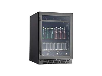Zephyr PRB24C01BBSG Presrv 24 Inch Single Zone Wine Cooler with 304-grade Black Stainless + Glass Door, 5.6 cu/ft, Built-In and Freestanding, Wine Fridge, Beer Fridge, Reversible Door, ENERGY STAR