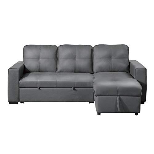 Lexicon Benton Reversible Sofa Sleeper with Storage, Grey