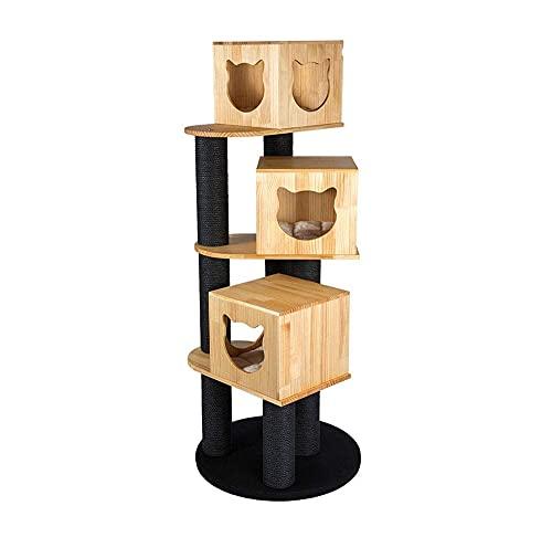 Cat Tree Wood Cat Tower Tower 3 Niveles for la Actividad del Gato Muebles for Gatos for Gatitos Gatos Grandes y Mascotas Apartamento de Gato Multifuncional