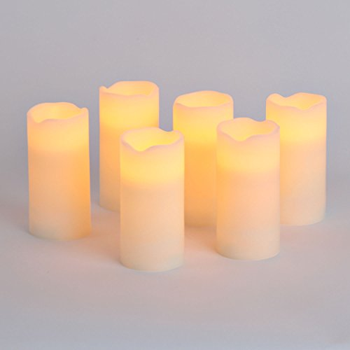 """Flameless LED Candles with Remote - Set of 6, Real Wax, 3"""" x 6"""" Ivory Pillar Candles, Warm White Flickering Lights, Timer and Batteries Included"""