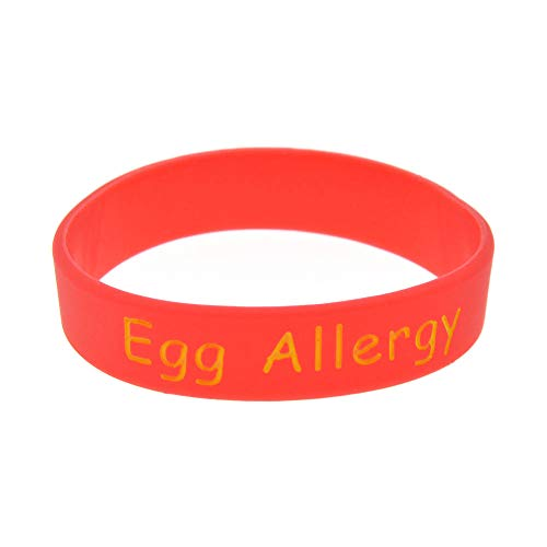 Zdy 10 Stks Siliconen Armband Ei Allergie Waarschuwing Siliconen Armband Children's Size Gegraveerde Armband Ring