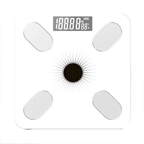 Balanzas de grasa corporal Bluetooth Báscula de peso digital Analizador de composición Monitor Básculas de IMC inteligentes, aplicación de teléfono inteligente, con carga USB, diseño delgado,Blanco