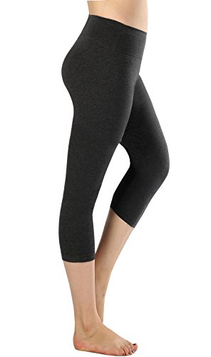 Flatik Damen 3/4 Sport Yoga Hose 3/4 Sporthose Jogging Bunt Farbig High Waist leggings(Dunkelgrau L)
