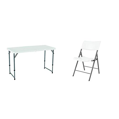 Lifetime 4 x 2 ft Rectangular Light Commercial Fold-in-Half Folding Table with 3 Adjustable Heights (56 x 74 x91.4 cm) with Set of 4 Chairs