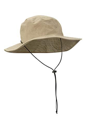 Mountain Warehouse Australian Brim Sombrero Australiano del Borde - 100% Casquillo del Vaquero del algodón, Sombrero del Verano de UPF30+, Casquillo Ligero del Sol Beige Talla única