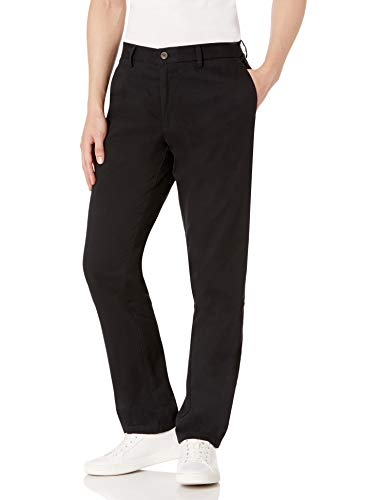 Match Mens Slim-Tapered Flat-Front Casual Pants(Black,36)