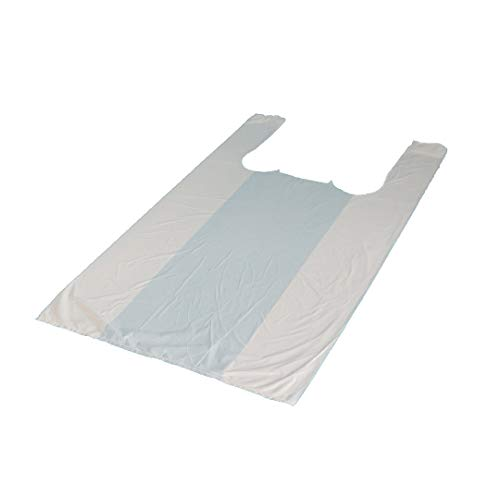 2000 Hemdchentragetaschen Plastiktüten Hemdchenbeutel Shopper Bags 25+12x45cm weiß - Inkl. Verpackungslizenz in D