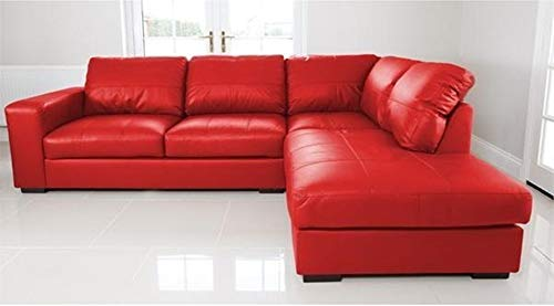 WESTPOINT - CORNER SOFA – FAUX LEATHER – RIGHT HAND SIDE (red)