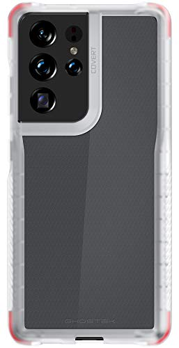 Ghostek Covert Galaxy S21 Ultra Clear Case with Grip, Raised Bezel Screen Protection, Lifted Camera Lens Protective Bumper, Durable Slim Design for 2021 Galaxy S21 Ultra 5G (6.8 Inch) (Phantom Clear)