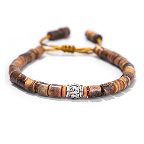 Budista tibetano Proverbios de seis palabras Proverbios de letras Pulsera tejida a mano Pulsera de sándalo de madera for hombres Pulsera de cuerda Ajuste del malvado espíritu Dinero Dibujo Riqueza For