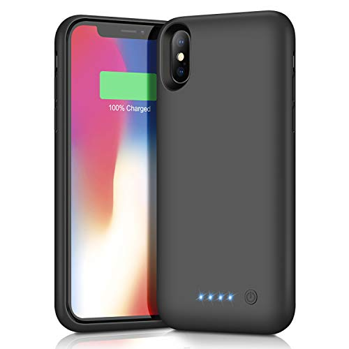 Battery Case for iPhone XS/X/10,Upgrade 6500mAh Portable Charging Case for iPhone XS/X/10 Rechargeable External Battery Pack Extended Battery Protective Charger Case(5.8 inch)-Black