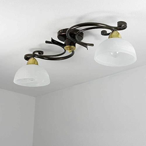 Gemütliche Deckenleuchte in Messing Weiß Floral 2x E27 bis zu 60 Watt 230V aus Glas & Metall Küche Esszimmer Lampe Leuchten Beleuchtung innen