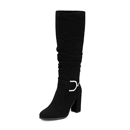 DREAM PAIRS Women's Black Nubuck Block Chunky Heel Knee High Winter Boots Size 8 M US Kara-1