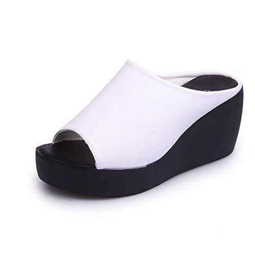 QLIGHA Aumento de Sandalias de Fondo Grueso para Mujer Verano Muffin Pendiente Inferior con Boca de pez Zapatillas de Mujer Plataforma Impermeable de Gran tamaño Zapatos de Punta Abierta para Adult