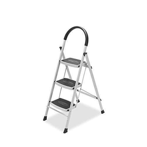 Zbm-zbm Huishoudelijke Vouwladder, Binnen Verdikking Ladder Ladder Handrail 3 Stap Staal Ladder Keuken Ladder (grootte: 67 × 74 × 117cm), Zwart Kleine kruk