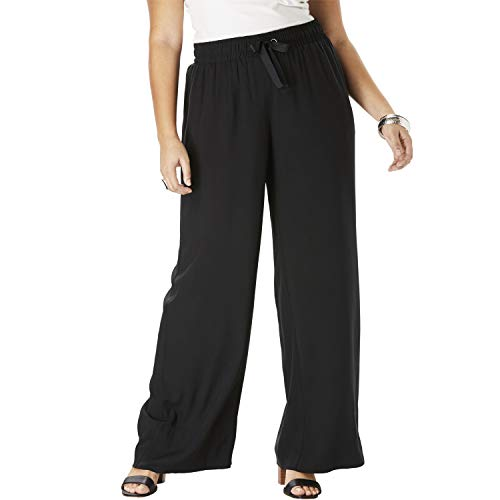 Roamans Women's Plus Size Wide-Leg Pant Pull On Trousers - 18 W, Black