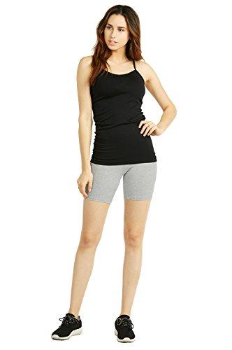 Cotton Leggings - Women's Mid Thigh Shorts 15 inches Cotton Leggings (1 Pack) (Medium, Black)