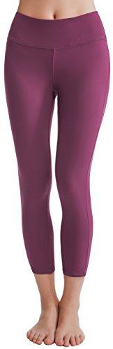Oalka Women's Yoga Capris Power Flex Running Pants Workout Leggings Plum XL
