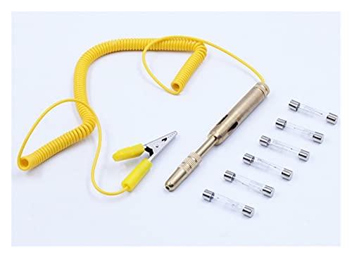 QiQi shop La molla di rame allunga il tester del circuito auto DC 6V 12V 24V Penna di misurazione del calibro del veicolo auto tensione Dc. Tester. GUIDATO Lampadina ( Language : 1 pen 6 extra bulb )