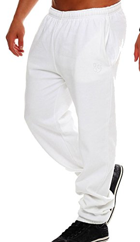 Gennadi Hoppe Herren Sporthose Trainingshose Jogginghose Pants Sweatpants,weiß,Medium