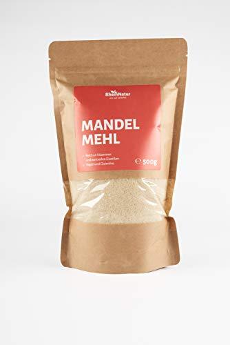 Rheinnatur Mandelmehl, naturbelassen, blanchiert | Low Carb, glutenfrei, Keto, vegan | 500 g Beutel