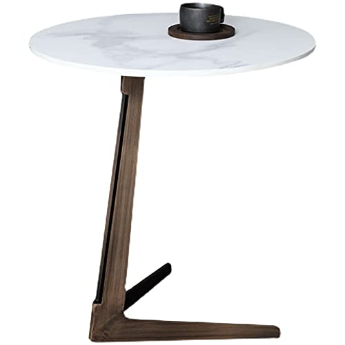 WUDAXIAN Tavolino Rotondo Moderno con ripiano in lastra di Roccia con Base a V, Φ40/45/50 cm, tavolino da Divano, tavolino da Cocktail per Soggiorno ad Angolo