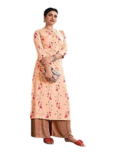 Melocotón indio impreso rayón cosido Kurti casual niñas moda mujer Kurta Plazzo Set 6384 - - S