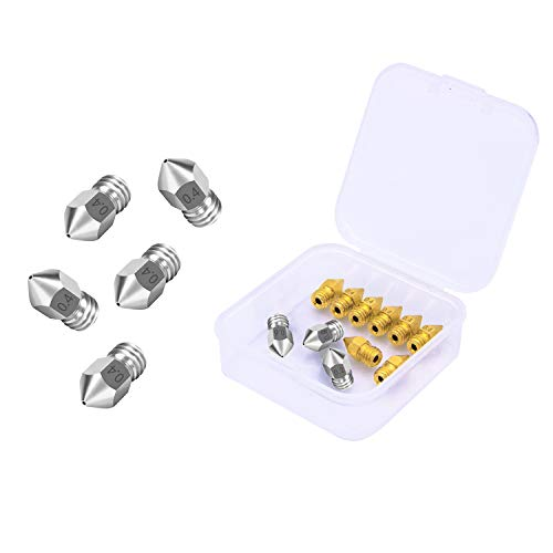 3D Printer Nozzles Set for MK8 16Pcs,Contains 0.2mm, 0.4mm, 0.6mm, 0.8mm, Model Nozzles,Universally Used for FDM 3D Printers, with Storage Box(MK8-Mixed 16Pcs)