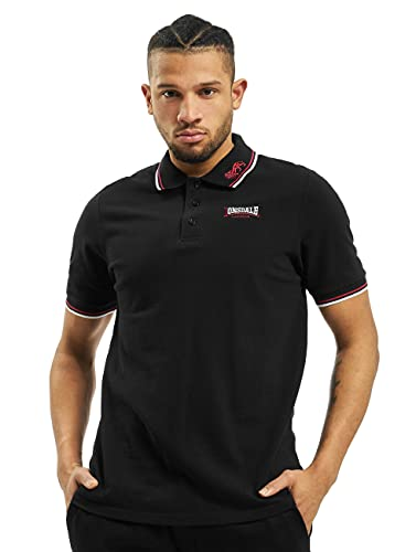 Lonsdale Lion - Polo - Droit - Homme, Noir (black / dark red / white), XX-Large (Taille fabricant: XXL)
