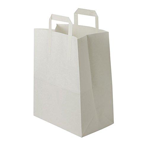 BIOZOYG weiße Papiertüten mit Griff I umweltschonende Papiertüte aus Kraftpapier I Geschenktüte biologisch abbaubar, Tüten kompostierbar I 250 x weiße Papiertragetaschen mit Henkel 32x12x40 cm