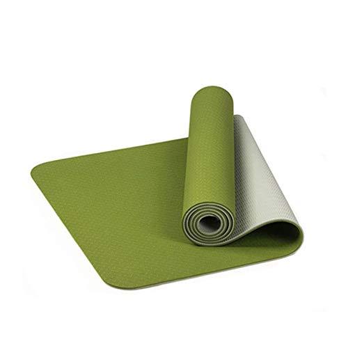 MeiZi 183x61cm TPE Zweifarbige rutschfeste Yoga Matte Sport Gym Home Fitness Übung Training tastellose Umweltmatte Gut (Color : Green)