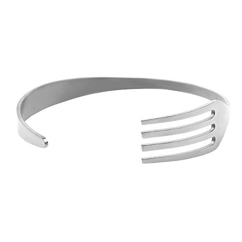 WDAIJY Damen Armband,Öffnen Sie Die Gabel Aus Edelstahl Armband Für Frauen Kreative Einfache Persönlichkeit Geschirr Armband Modeschmuck Freund Geschenk